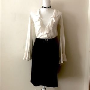 Club Monaco Black Darted Cotton Pencil Skirt Sz 0!